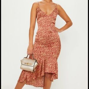 Red Leopard Print Frill Hem Midi Dress